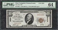 1929 $10 First National Bank Glen Campbell PA - PMG Choice Uncirculated 64 - C2C