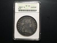 1802/1 Draped Bust Dollar ANACS EF 40 B-2 Rarity 4