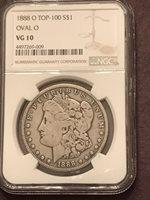 """1888 O VG 10 Top 100 Oval """"O"""" NGC Graded Morgan Silver Dollar"""