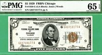 1929 $5 FRBN - PMG GEM 65 with EPQ - Fr 1850-G CHICAGO - PMG GEM 65 with EPQ