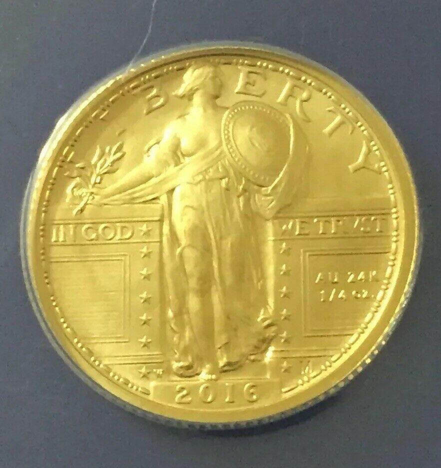 2016 W STANDING LIBERTY QUARTER GOLD CENTENNIAL COMMEMORATIVE COIN W// OGP 16XC