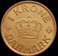 Denmark 1940 1 Krone Key Date! Better & Higher Grade Nice Al-Bronze Coin!
