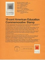 1980 U. S. USPS one Souvenir Page Scott 1833 American Education 15 cent stamp