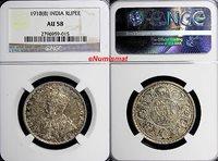 1 Rupee World Coins India-british George V Silver 1918(b) Ngc Au58 Nice Toning Km# 524