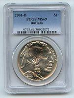2001 D $1 Buffalo Silver Commemorative Dollar PCGS MS69