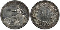 SWITZ. Solothurn. 1855 AR 5 Francs Shooting Thaler. PCGS AU55. KM X-S3; R-1117a.