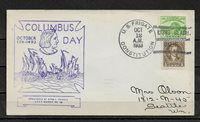 1933 Cachet Cover RARE,US Frigate Constitution Ship Cancellation ! Columbus day