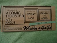 Atomic Rooster / Bull Angus / Fanny 1971 concert ad Whisky A Go Go