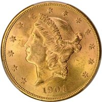 1904-S $20 Liberty Head Double Eagle PCGS MS64+ CAC