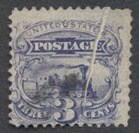 United StatesScott #114 (2014 Scott Value $16.00), Used, Avg. 3c locomotive with vertical pre-printing paper fold.Stamp #47560 | Price: $45.00Add To Cart