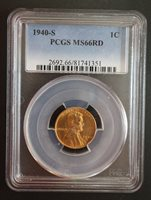 1940 S Lincoln Wheat Cent PCGS MS 66 RD.
