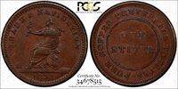 British Guiana Copper 1838 Stiver Token PCGS AU55 Navigation TOP GRADED KM# Tn1