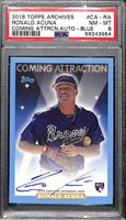 2018 Topps Archives Coming Attractions Ronald Acuna Rookie Autograph (Blue Variation #ed 14/25) Graded PSA 8