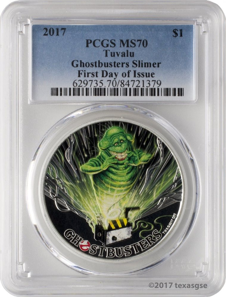 2017 Perth Mint Tuvalu GHOSTBUSTERS SLIMER 1 oz Silver Proof $1 Coin PCGS MS70