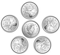 Canada set of 5 coins 25 cents quarters, New condition, Uncirculated, 2020