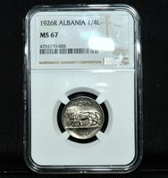 1926-R ALBANIA 1/4 LEKU ✪ NGC MS-67 ✪ SILVER GEM UNCIRCULATED UNC L@@K ◢TRUSTED◣