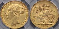 1880 Melbourne St George Reverse Sovereign - PCGS AU58 1880 Melbourne St George Reverse Sovereign