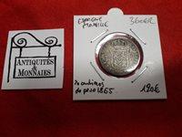 Spain Shackle - Coin 20 Centimos. Peso 1865 Silver Rare - REF36062