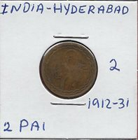 "INDIA PRINCELY STATES HYDERABAD 2 PAI (1/96)1330-1349(1912-1931) FULL ""AIN"" IN T"
