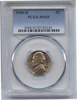 1960-D Jefferson Nickel PCGS MS 65 Certified - Denver Mint