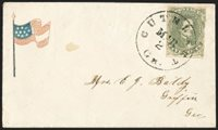 "5c Olive Green, Stone A-B (1c). Ample margins to just touched, distinctive pastel shade and proof-like impression, tiny nick at right, tied by ""Cuthbert Ga. Mar. 2"" (1862) circular datestamp on red and blue 10-Star Small Waving Confederate Flag Patriotic cover (F10-8) to Griffin Ga., small faint stain spotVERY FINE. A CHOICE AND SCARCE CONFEDERATE FLAG PATRIOTIC COVER WITH GENERAL ISSUE FRANKING.Ex MacBride, Ballard and Brandon"
