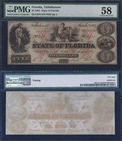 FLORIDA STATE $5.00 1864 PMG 58