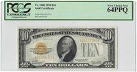 $10 1928 Gold Certificate Small Size Fr#2400 PCGS Currency VCN 64PPQ