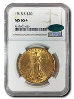 1915 S $20 Saint Gaudens - NGC MS65+ CAC