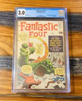 Fantastic Four 1 CGC 3.0 - ORIGIN & 1st APP! MOLEMAN! ❄️White Pages ❄️! WOW!