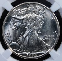 1944 D WALKING LIBERTY HALF DOLLAR NGC MS 64 FRESH GLOWING WHITE VIRTUAL GEM