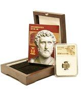 Roman Emperor Antoninus Pius Silver Denarius Coin NGC Certified XF,Wood Box