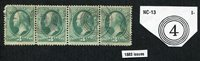 "*PJ's "".03 Cent Green"" (strip of 4!) - w/ Cole NC-13 Fancy Cancel - lot #2630"