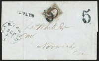"5c Red Brown (1). Large margins, dark ""Chocolate"" shade and sharp early impression, tied by one of two strikes of dark bluish-black large ""5"" pre-stamp rate handstamp with matching ""Hartford Ct. Sep. 12"" circular datestamp and ""Paid"" Pointing Hand handstamp on 1847 bluish folded letter to Norwich Conn., accompanied by unpaid stampless folded letter with the same ""5"" marking but no ""Paid"", stamp with barely detectable score lineEXTREMELY FINE. AN EXCEEDINGLY RARE EARLY 1847 ISSUE COVER SHOWING IN"