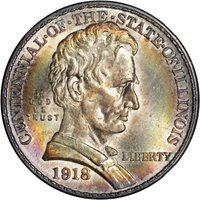 Commem $0.50 Lincoln Illinois 1918 Commemorative Half Dollar 50c - ANACS MS62 PQ