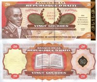 """Haiti 20 Gourdes Pick #: 271 2001 UNCOther Commemorative Note - Bi-centennial of the Haitian Constitution 1801-2001 Orange/Brown Bicentennial of Constitution; Bust; Hologram security strip; Open Constitution bookNote 6 1/4"""" x 2 3/4"""" North and Central America Coat of Arms"""