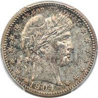 1904 Barber Quarter PR 64, PCGS 25c C00048382