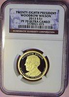 2013-S $1 WOODROW WILSON PRESIDENTIAL DOLLAR NGC PF70 ULTRA CAMEO HIGHEST GRADE