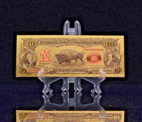 """A <MINT >1899 """"GOLD""""$10 BISON GOLD CERTIFICATE Rep.*Banknote~STUNNING DETAIL"""