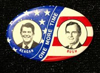 1984 Reagan-Bush 'One More Time' Presidential Election Campaign Pinback EX