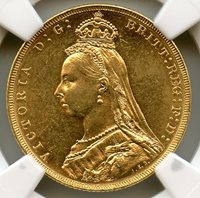 Great Britain 1887-M; Gold Sovereign; Queen Victoria Jubilee type with St. George reverse; Melbourne mint; NGC graded MS-62
