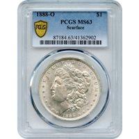 1888-O $1 Morgan Silver Dollar, Scarface variety PCGS MS63