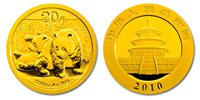 China 2010 Panda 1/20 oz Gold BU Coin