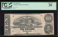 AC T-59 $10 1863 Confederate Currency CSA PCGS 30
