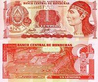 "Honduras 1 Lempira Pick #: 84e 2006 UNC Red/Pink Lempira; Crest; Ruins at CopanNote 6"" x 2 1/2"" North and Central America None Discernible"