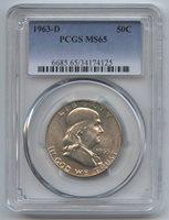 1963-D Silver Franklin Half Dollar PCGS MS 65 Certified - Denver Mint