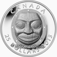 Canada 2013 Native American Grandmother Moon Mask $25 Silver High Relief in OGP