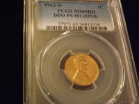 1963-D One Cent DDO PCGS MS 65 RD