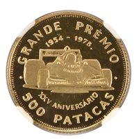 1978 Macau Gold 500 Patacas Grand Prix Decals on Car NGC PF69UC RARE!