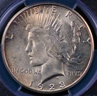 1923 S PEACE DOLLAR PCGS MS 62 CREAMY WHITE WITH SOFT DIFFUSED COPPER BLUSH