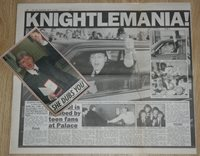PAUL McCARTNEY Knightlemania March 12 1997 The Sun UK article clipping beatles